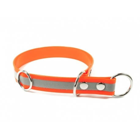 Mystique® Biothane Schlupfhalsband 25mm reflex orange gold 40cm
